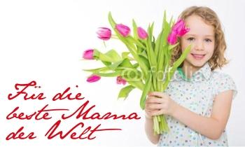 Als Muttertagsgeschenk eine selbst gestaltete Fahnen mit Vorlagen von FAHNENstyling24.de